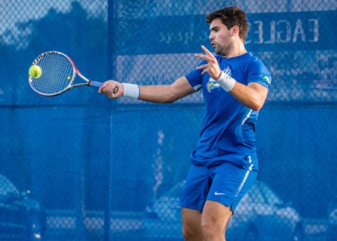 EN Photo by Julia Bonavita // Senior Marcelo Tebet played tough three-set matchup but couldnt record a point for the Eagles, as FGCU fell to USF 7-0 in its season opener at home.