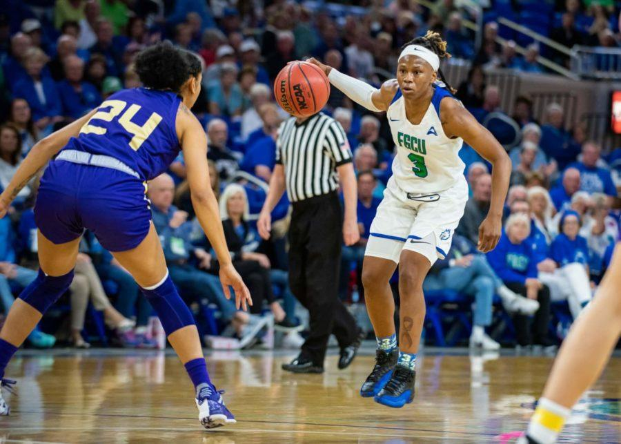 EN Photo by Julia Bonavita // Keri Jewett-Giles led the Eagles with 19 points and produced a game-high seven steals. The No. 23 ranked FGCU women's basketball was handed it's first conference loss in over two years, losing to North Alabama 61-55 at home on Saturday night.