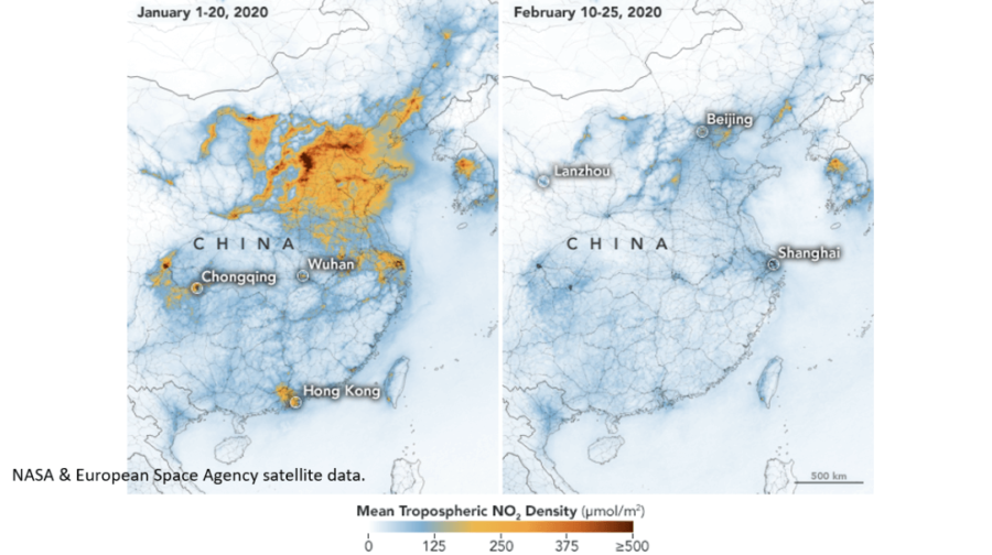 Photo courtesy of Nasa. This photo depicts the decreases in nitrogen dioxide over China. There is evidence that the change is at least partly related to the economic slowdown following the outbreak of Covid-19.
